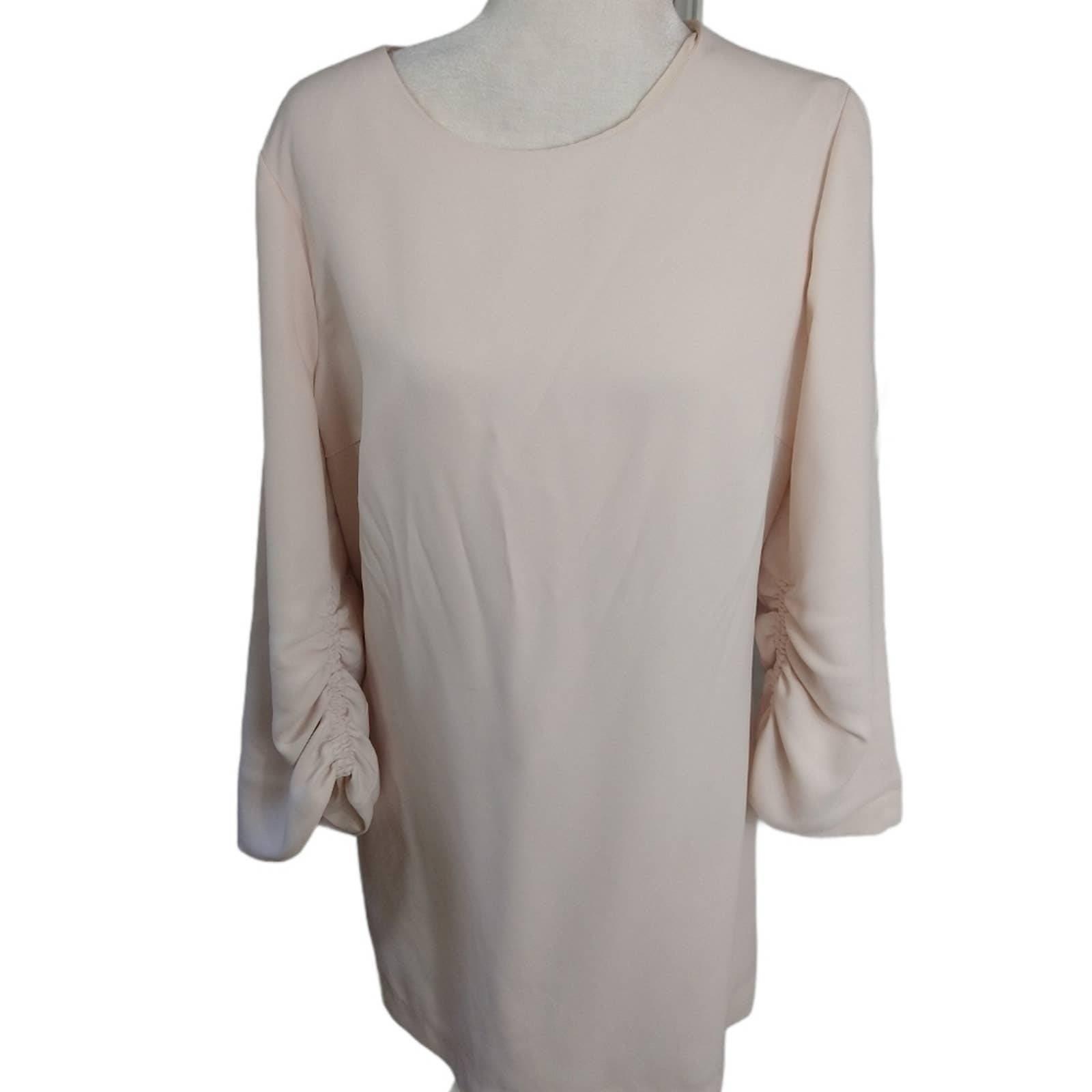Club Monaco ruched sleeve blush dress 12