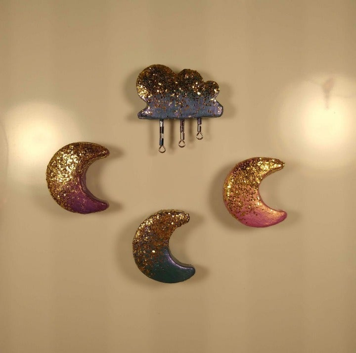 Moon&Cloud Handmade Glitter Clay Magnets