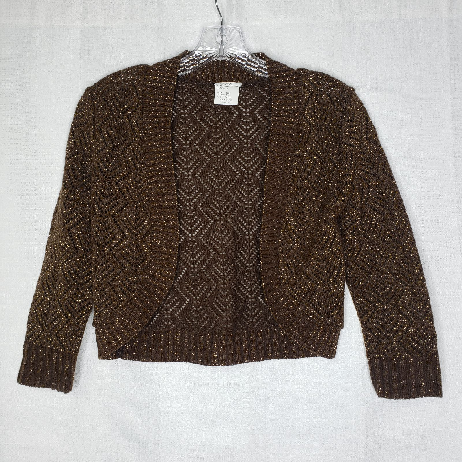Cache Brown Gold Metallic Shrug Sweater