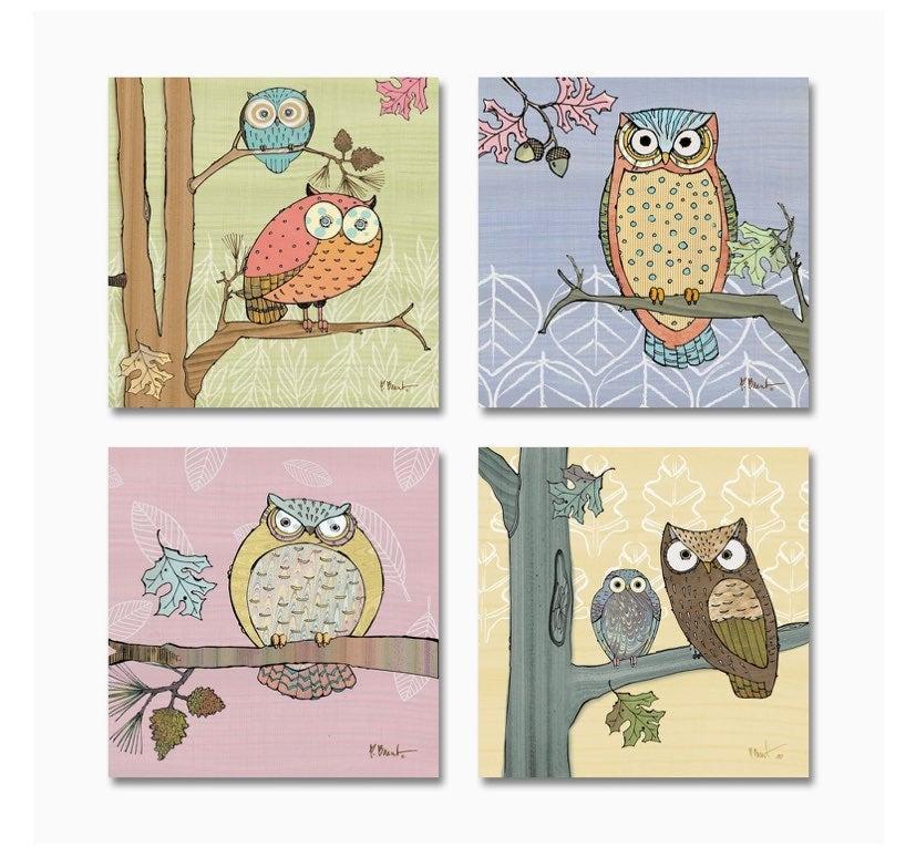 Pastel owls set art poster prints