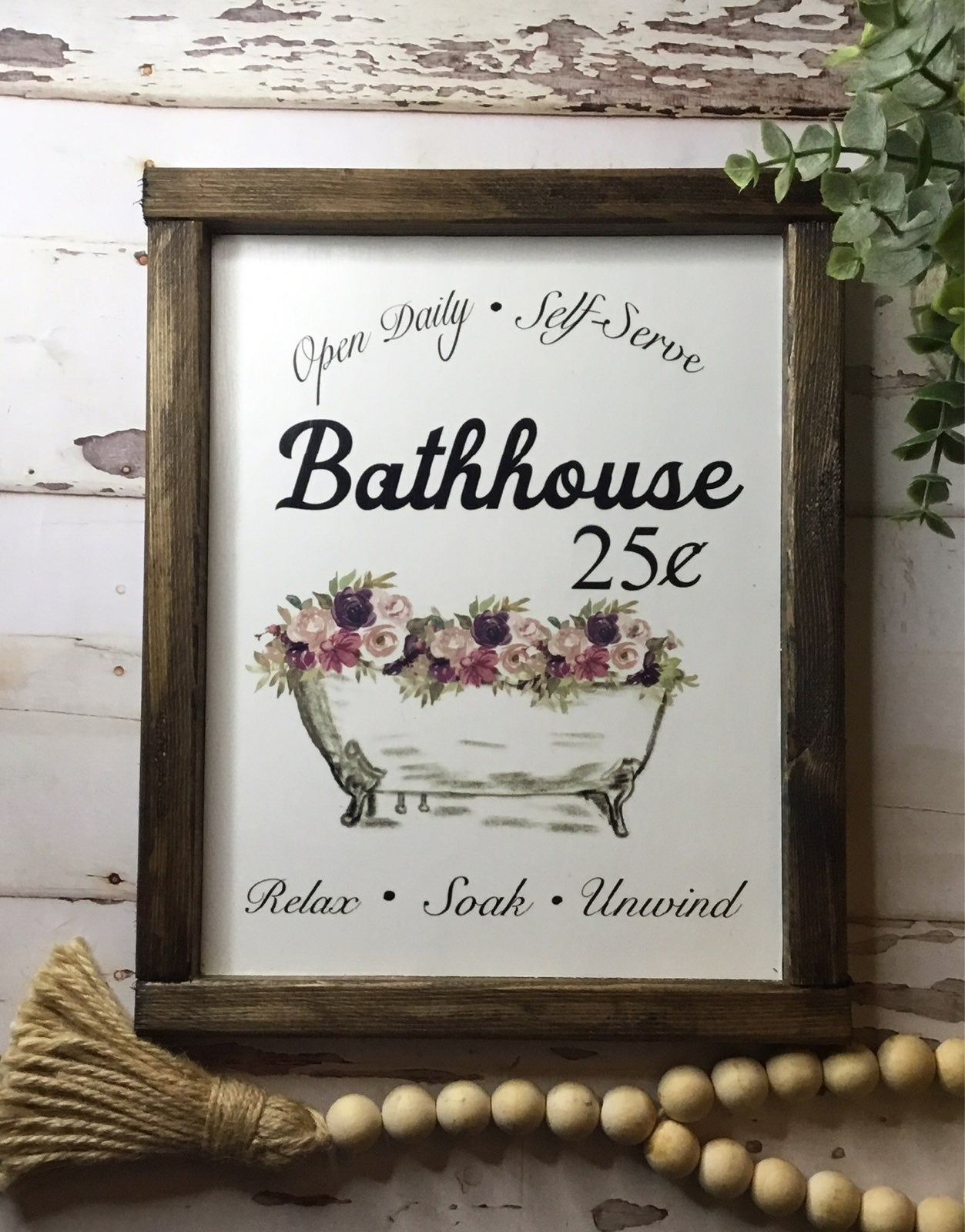 Bathouse clawfoot bathrub wooden sign
