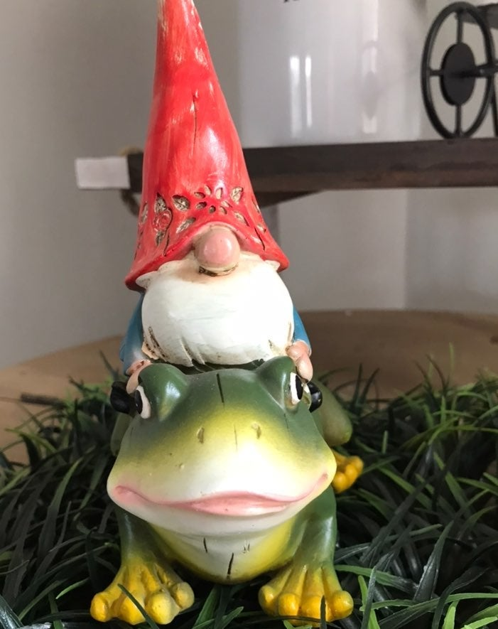 Garden Gnome Decor with Frog
