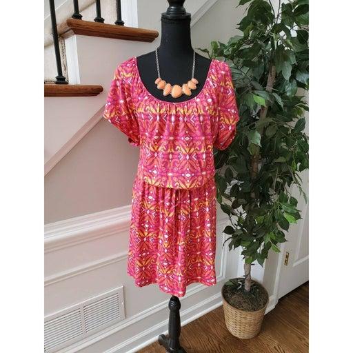 Kim Rogers Pink/White Midi Dress Size XL