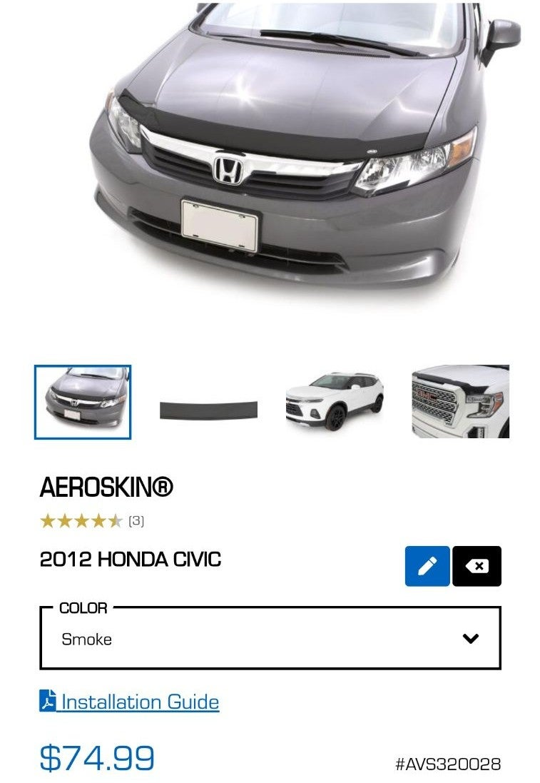 AVS Aeroskin hood protect 9th gen civic