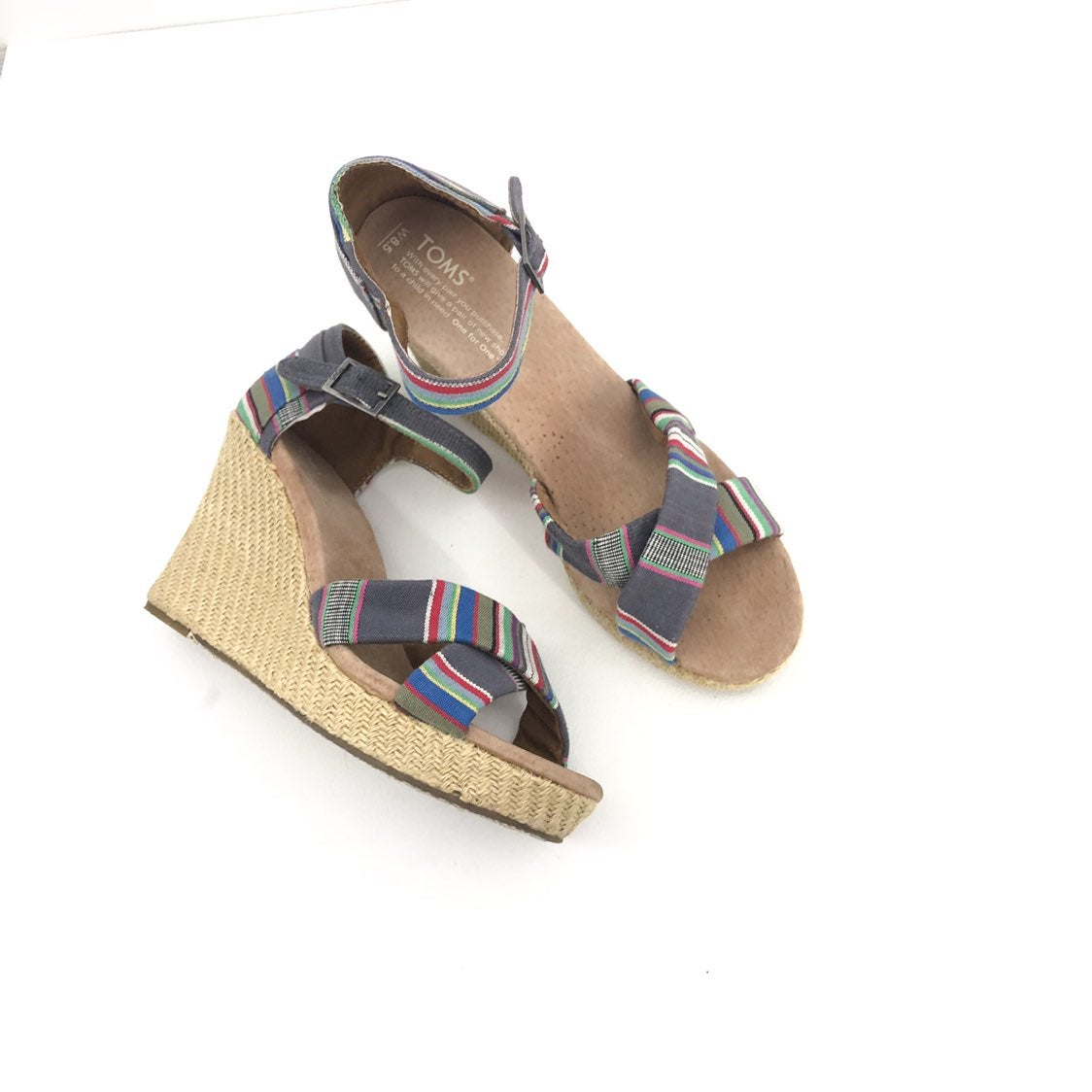 TOMS fabric espadrille Wedge Heel Size 8