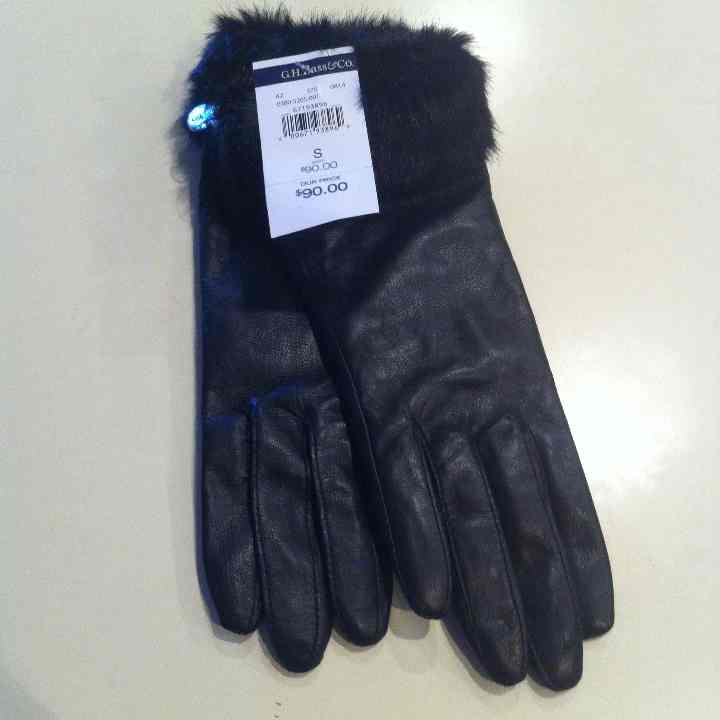 Genuine leather with faux fur gloves NWT