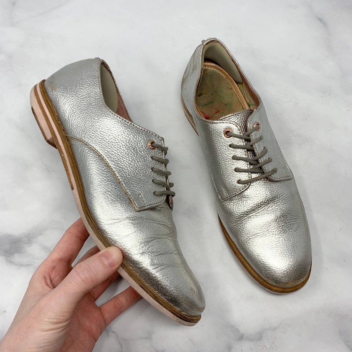 Ted Baker Leather Oxford Silver RoseGold