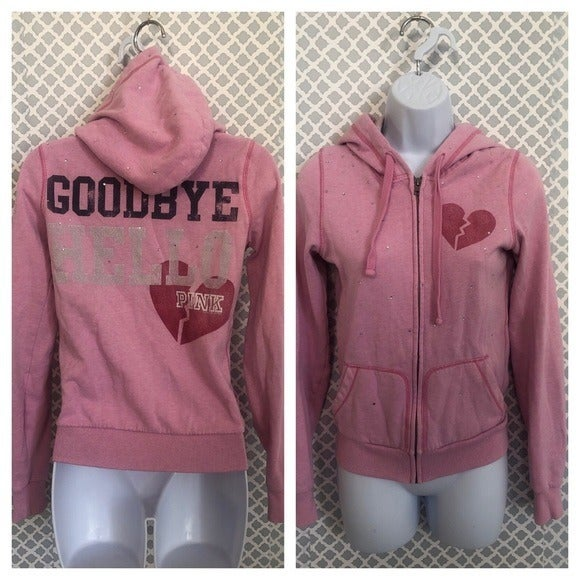 VS Pink goodbye hello hoodie zip up