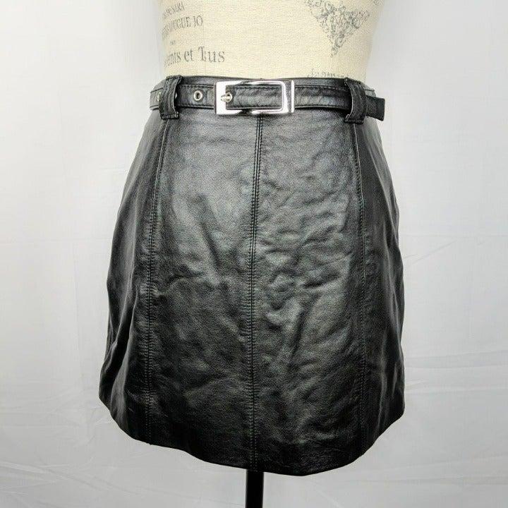 Vintage Wilsons Maxima Black Leather Mini Skirt Belted Sz XS 2/4 Lined Paneled