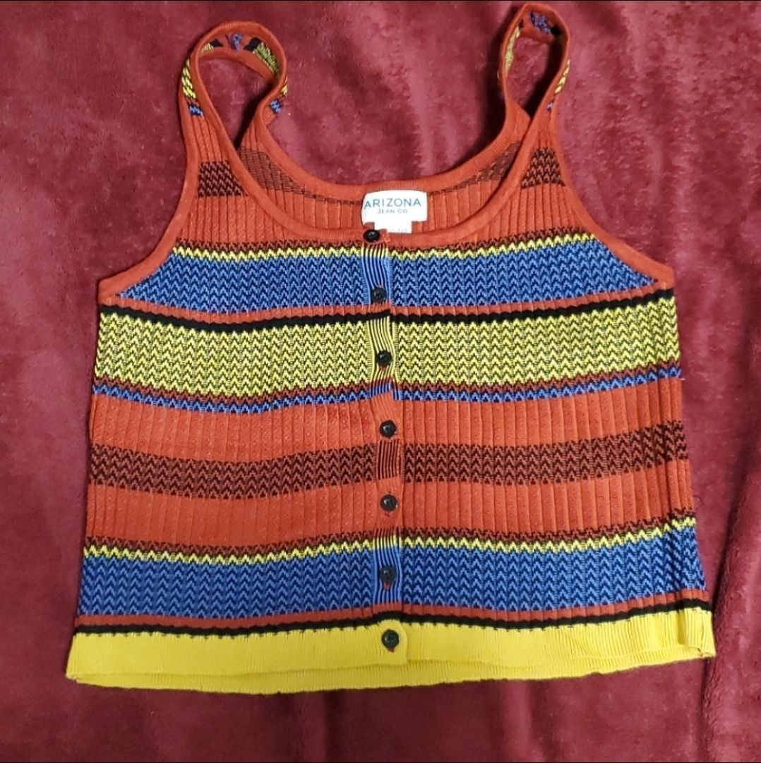 Red, blue, and yellow Crop Top