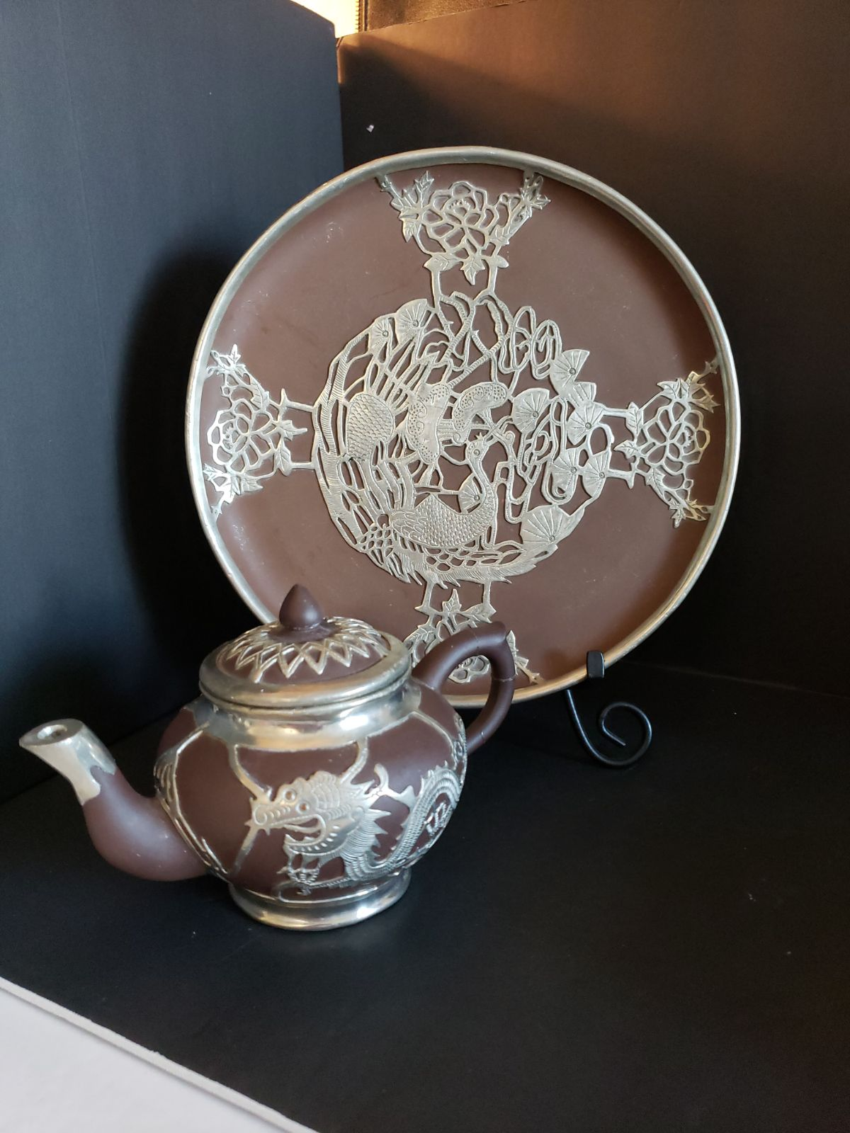 Antique Chinese Clay Teapot And Plate