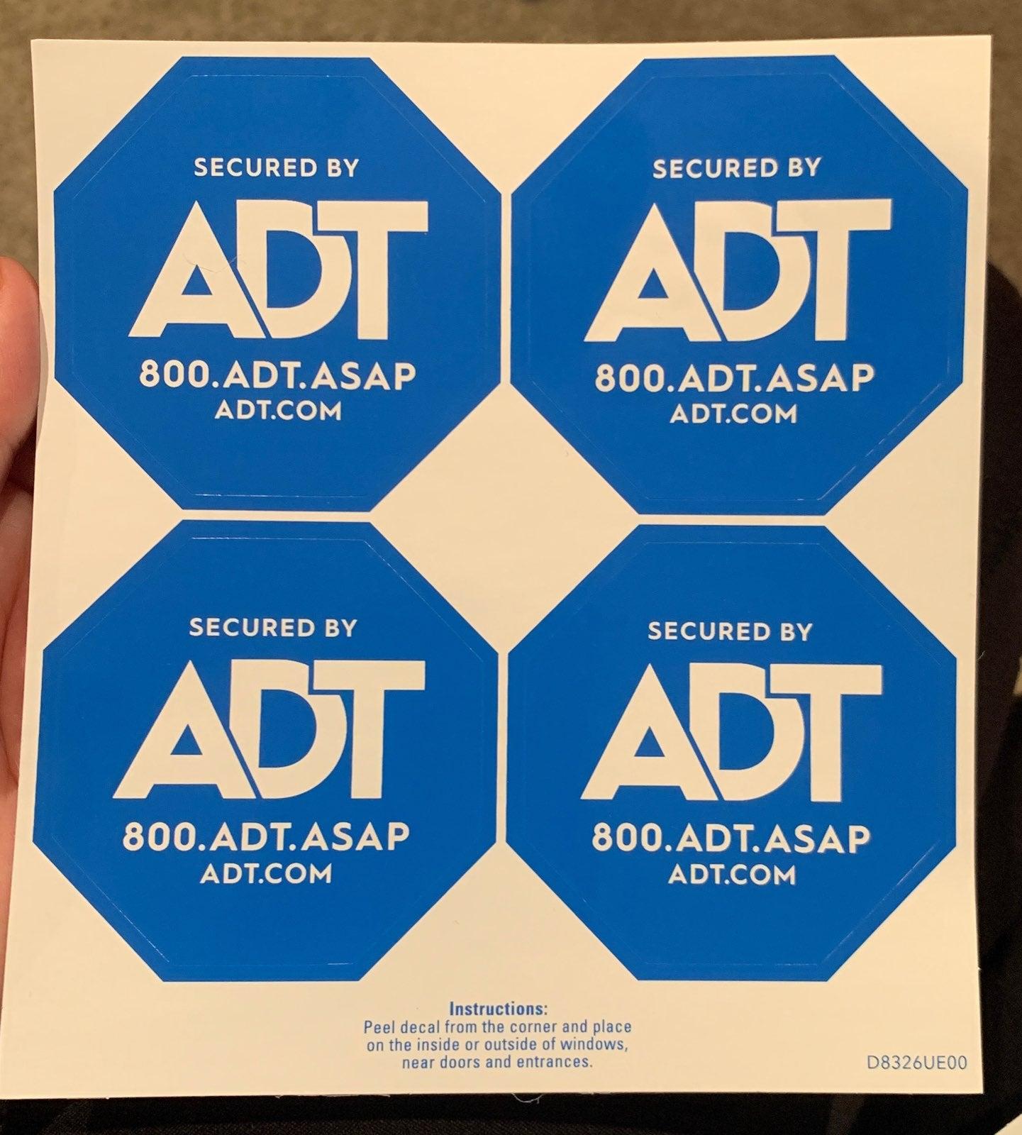 ADT window decal sticker