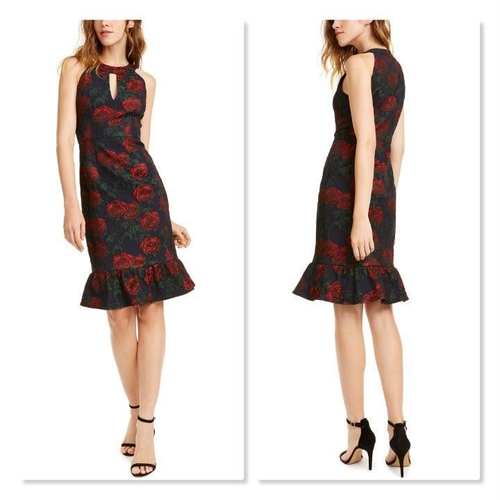 Nanette Leopore Ruffled Rose-Print Dress