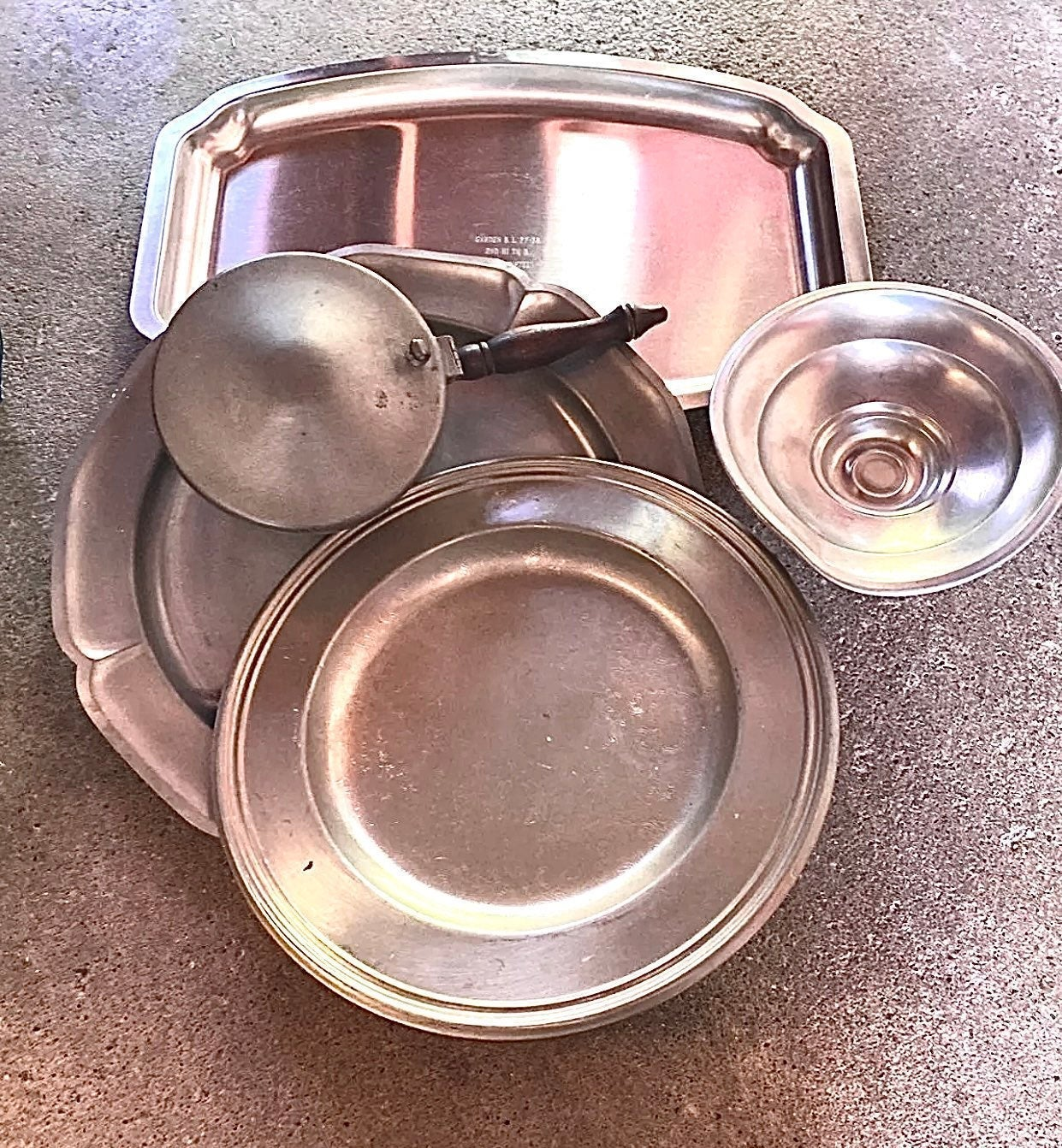 Serving dining pieces made wirh silver