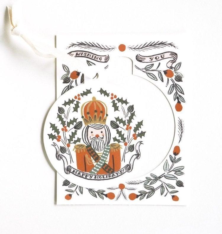 6 Rifle Paper Nutcracker Ornament Cards