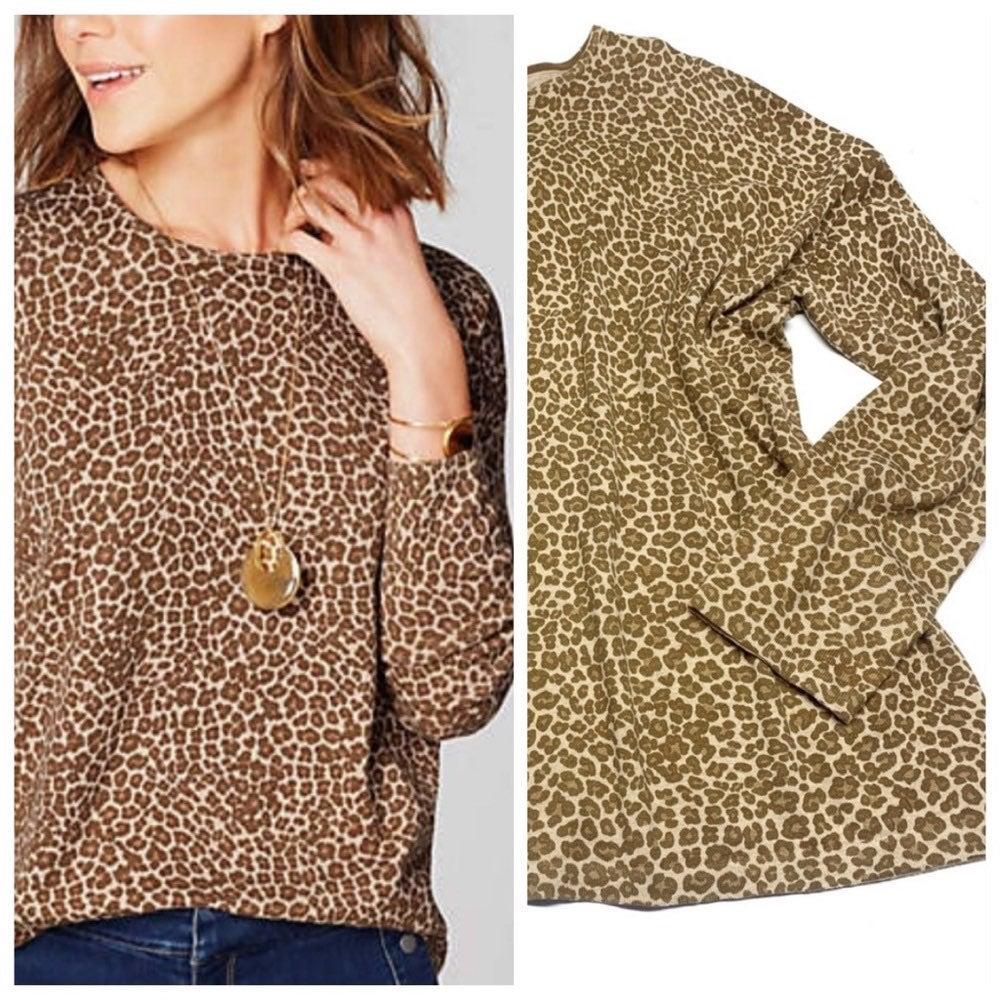 J Jill Leopard Animal Print Sweater Tan