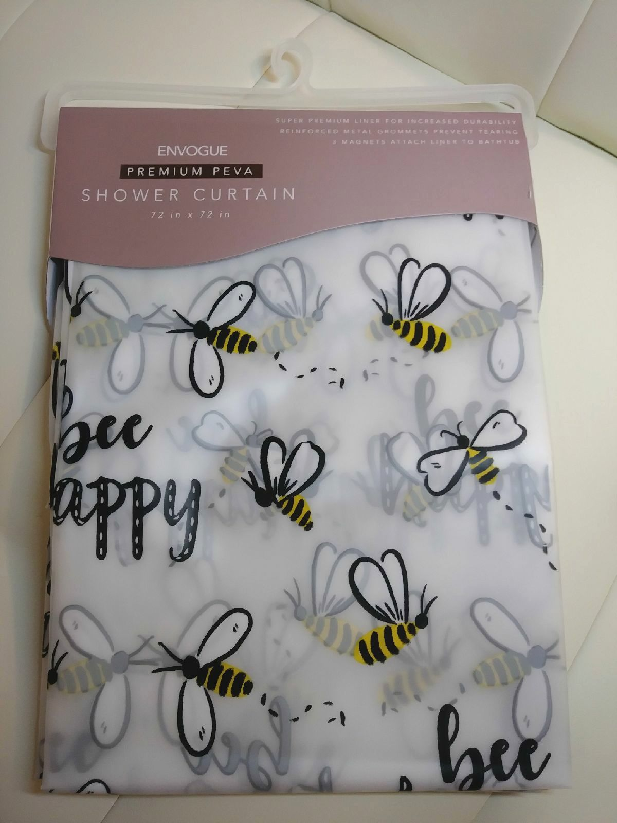 Cute BEE HAPPY Shower Curtain
