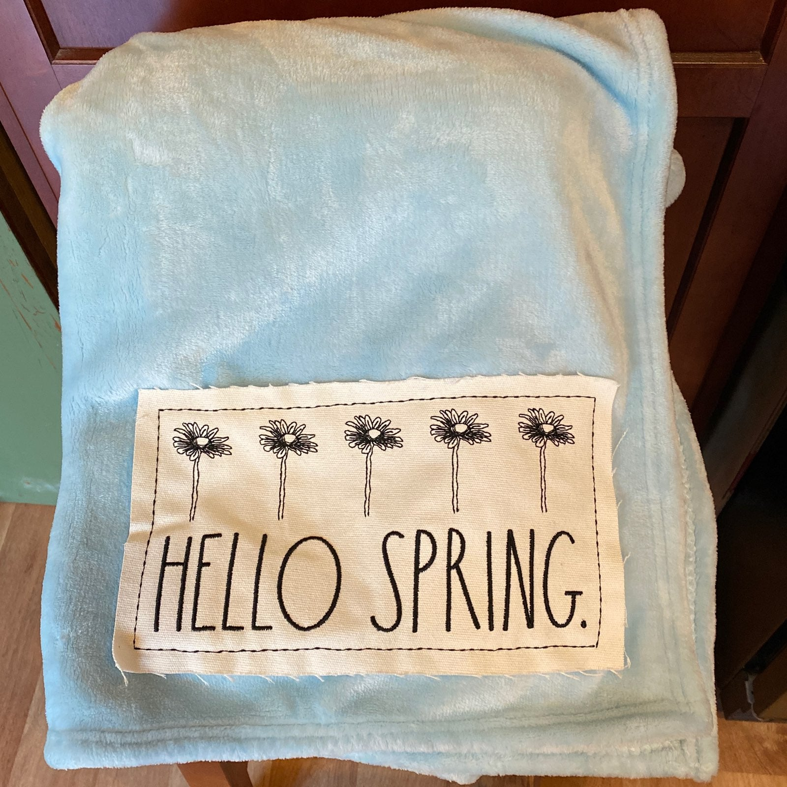 Rae Dunn HELLO SPRING. Throw Blanket