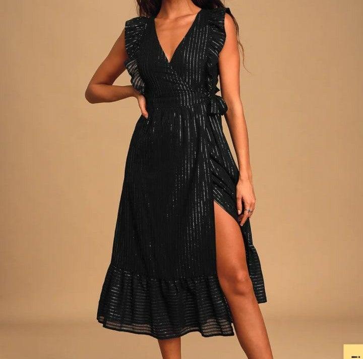 Lulus black midi dress!
