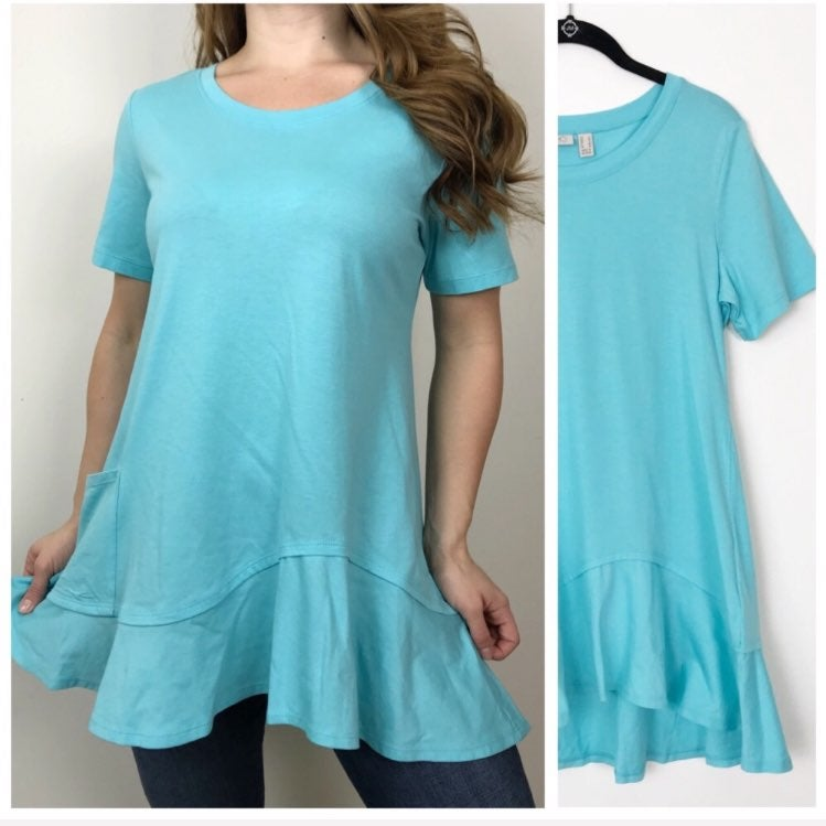 Logo lori goldstein blue tunic top small