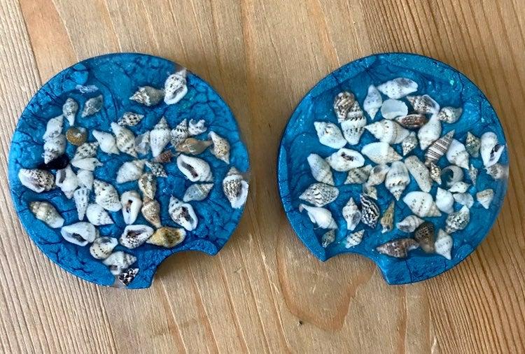 Seashell car coasters
