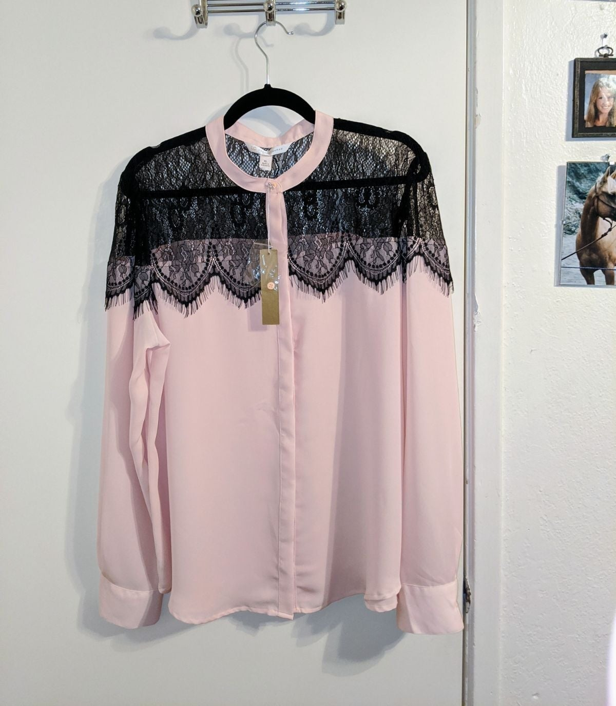 Lauren Conrad Blush Lace Blouse XL NWT