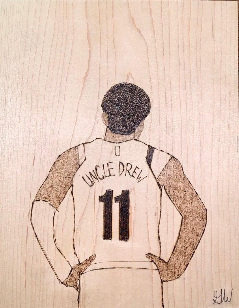 """Kyrie Irving """"Uncle Drew"""" Wood Portrait"""
