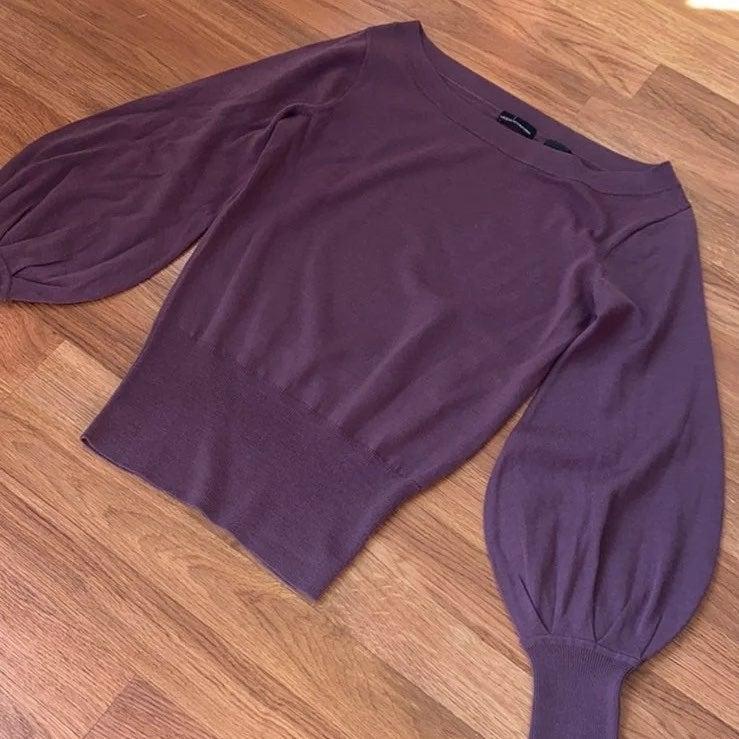 Moda plum balloon sleeve wool sweater