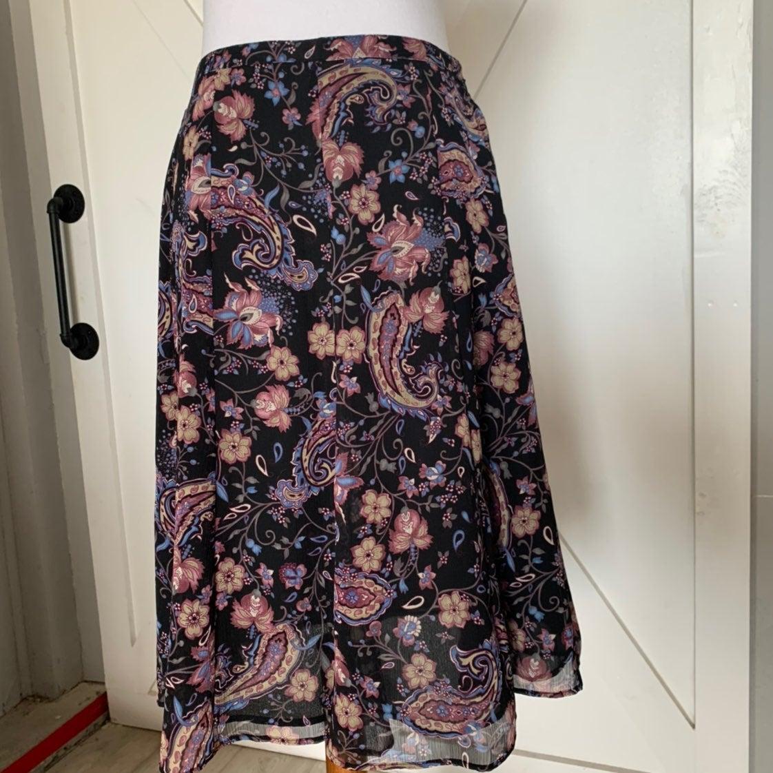 Black & Purple paisley skirt