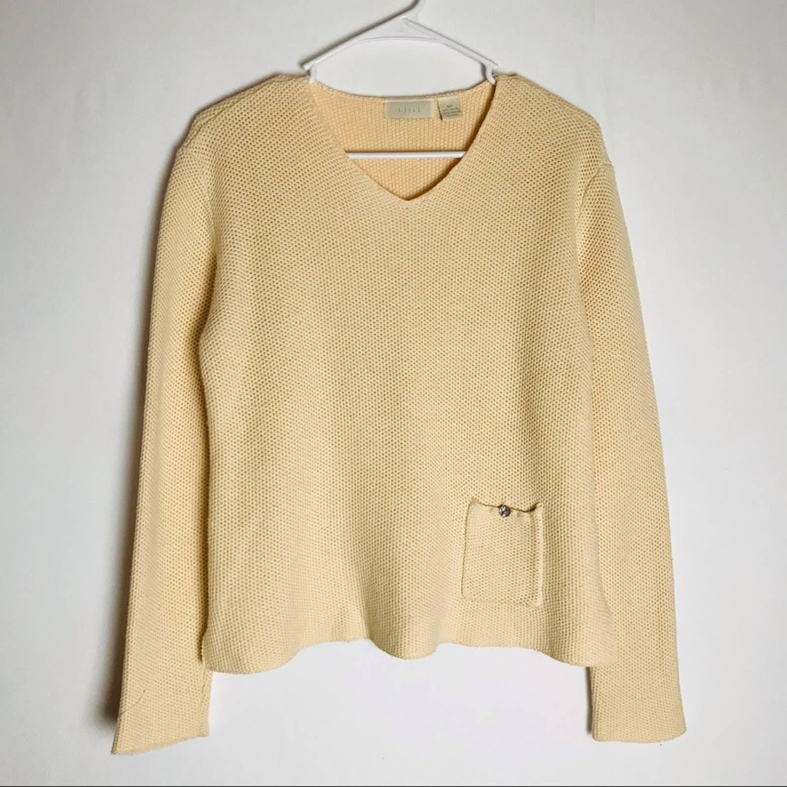 J JILL Cream Color Knit V Neck Sweater