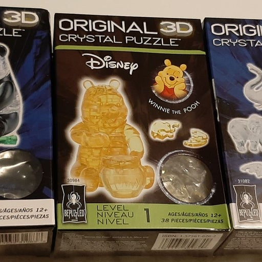 3 Sealed 3D Crystal Puzzles Disney