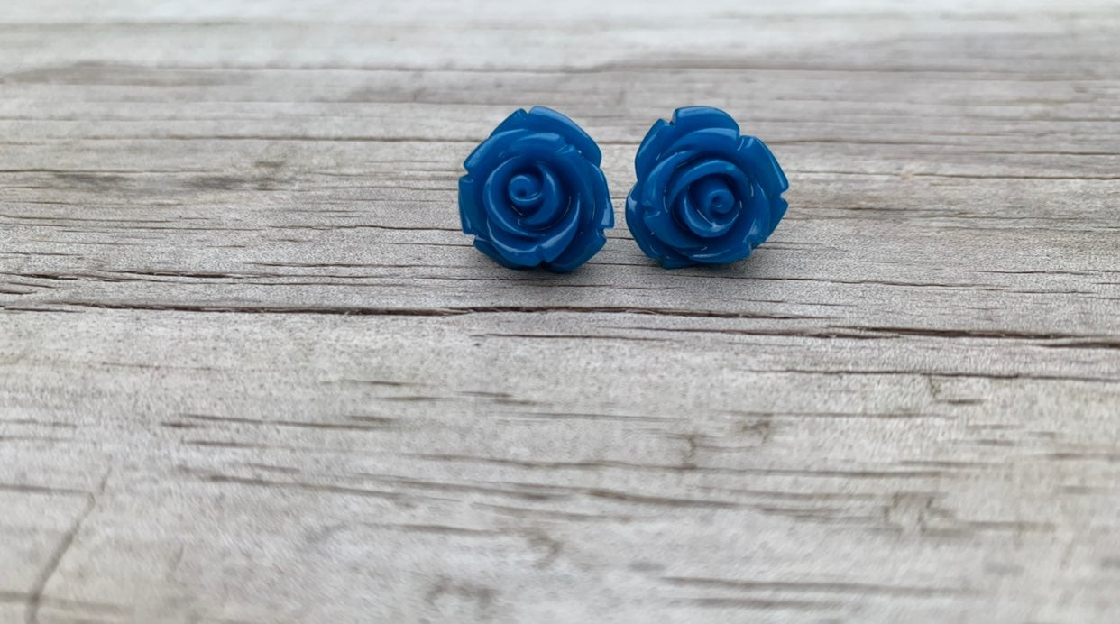 Blue rose earrings studs