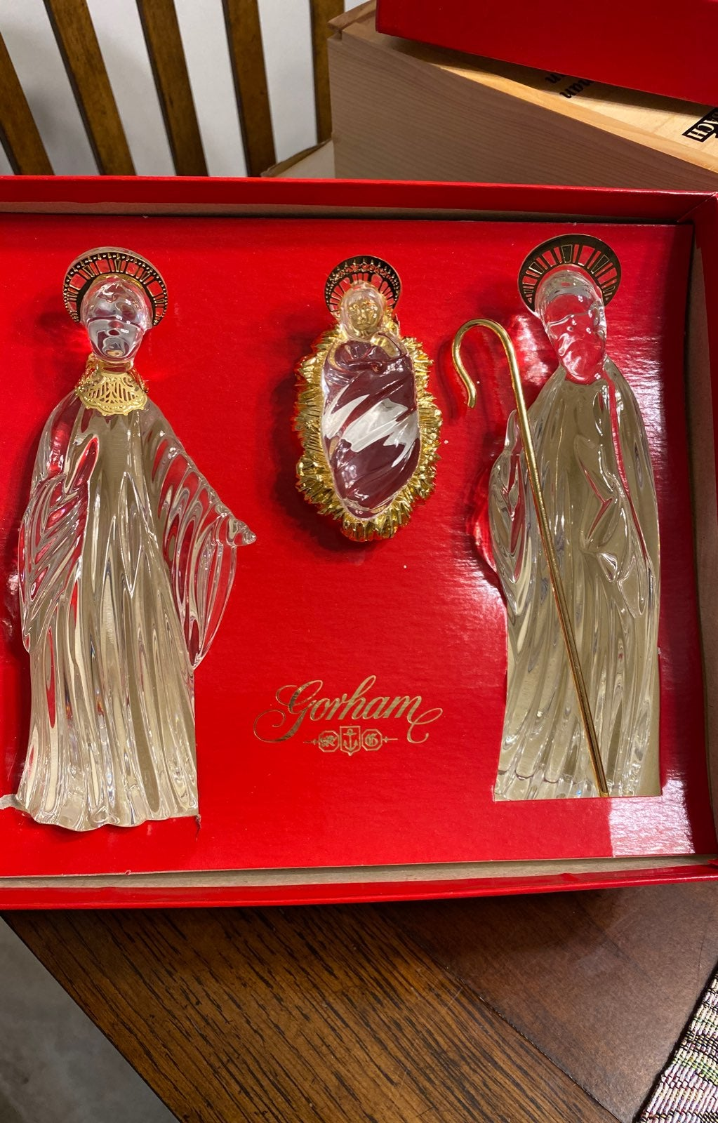 Gorham Crystal Nativity with Gold Trim