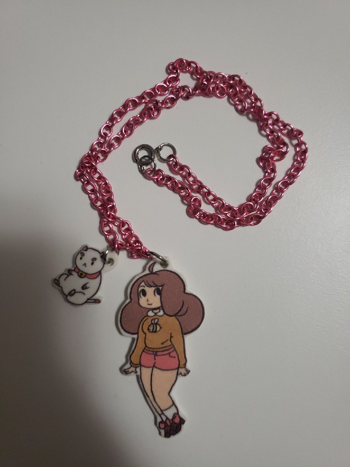 Bee and PuppyCat acrylic charm necklace