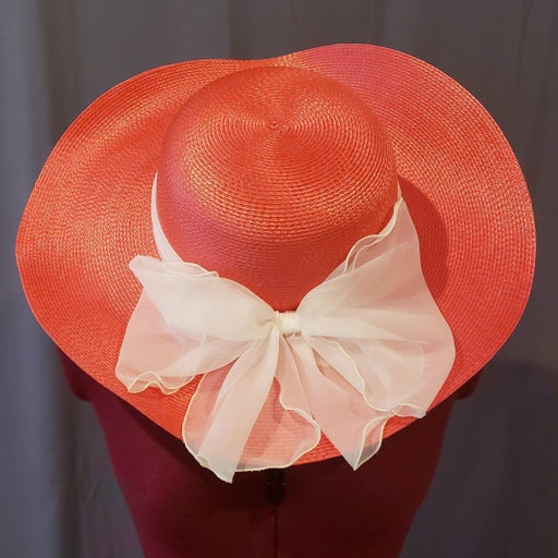 Vintage coral sun hat with white bow