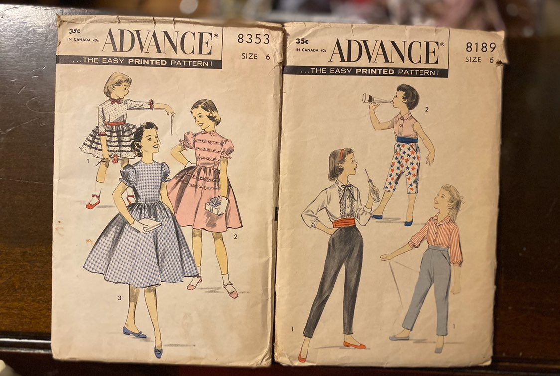 Vintage Advance sewing patterns