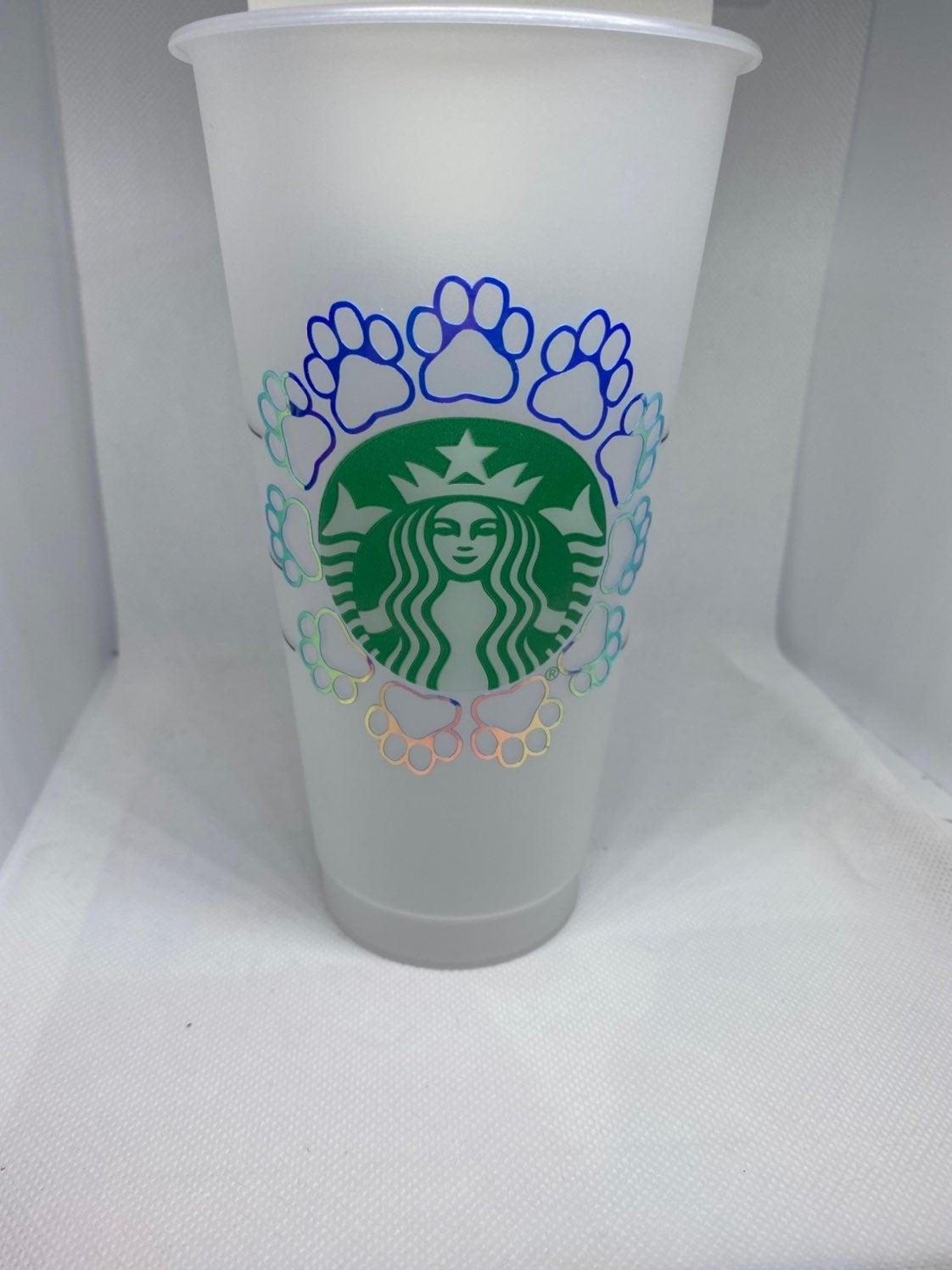 Reusable starbucks cup- paw print