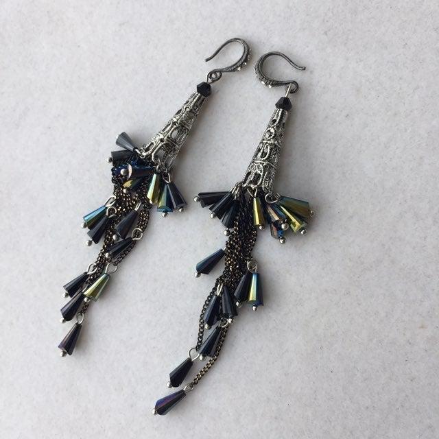 Earrings, Long Dangling Cascading Beads