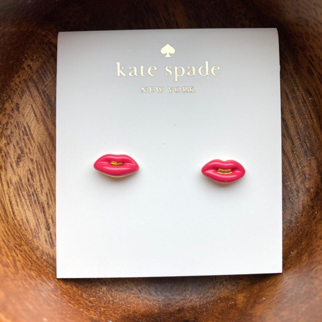 NEW Kate Spade Pink Lips Stud Earrings
