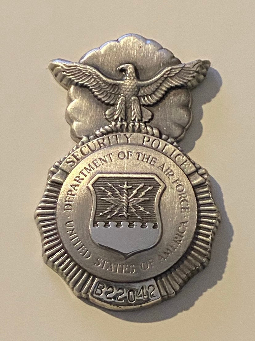 Military issue security police badge rar