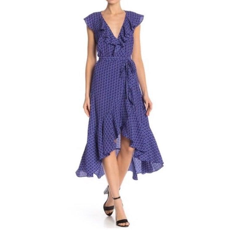 Max Studio Wrap Ruffle Dress Small