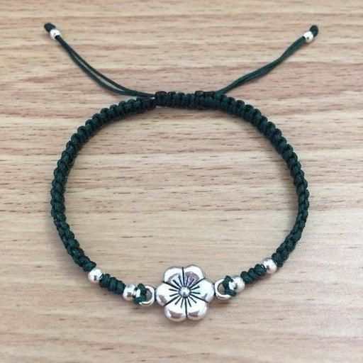 Dark Green Braid Silver Flower Bracelet
