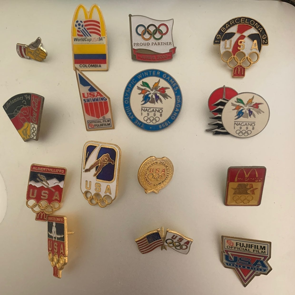Assorted olympic & World Cup pins