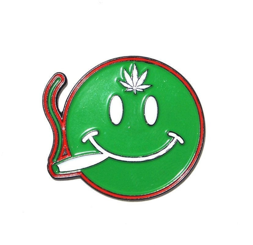 Green Emoji Pot Leaf Pin 420 Dab Drugs