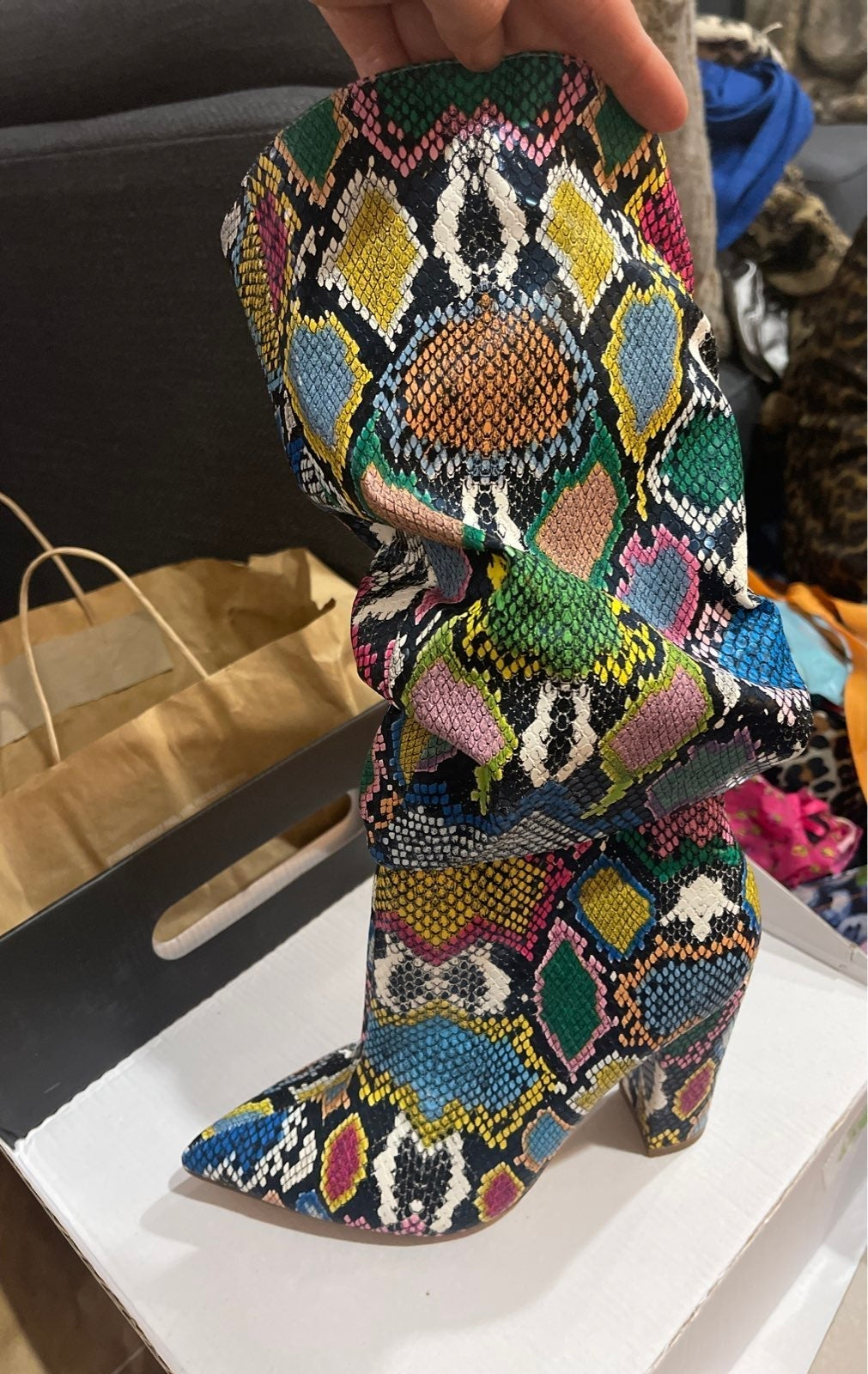 Multi color snake print boots