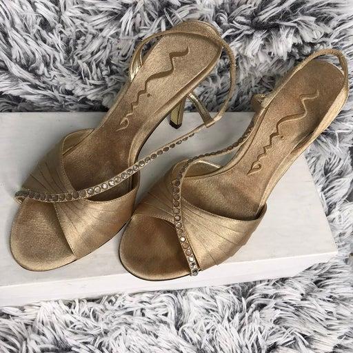 NINA New York Gold Heels S(7 1/2)