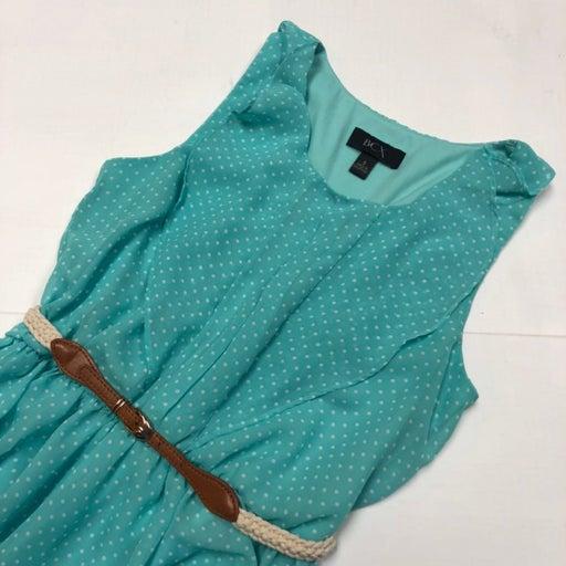 BCX Teal Polka Dot Belted Dress