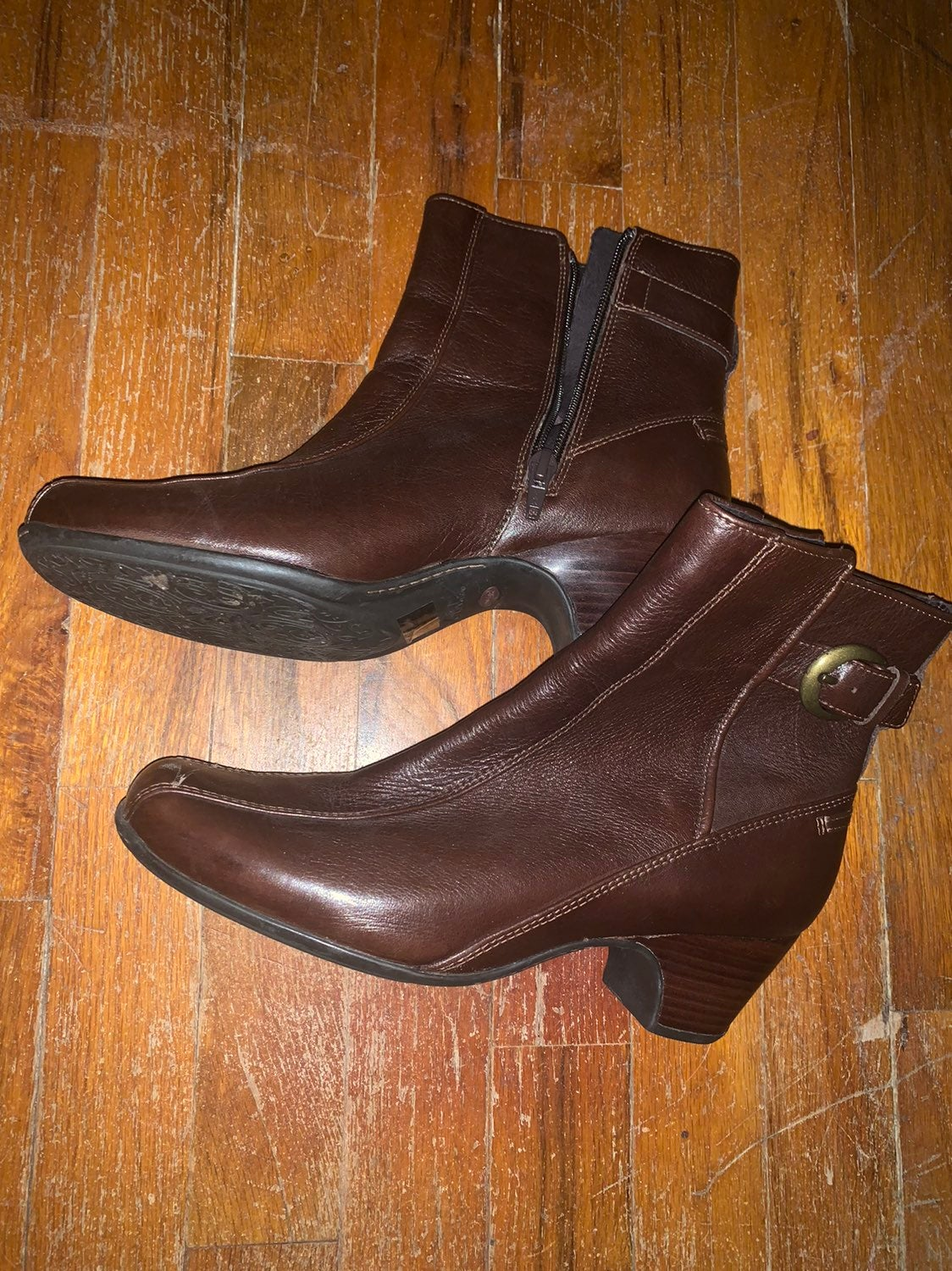Borns Brown Leather Ankle Boots