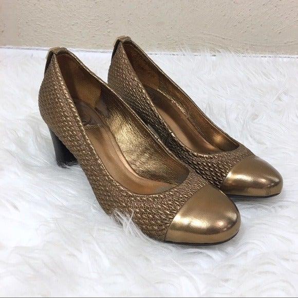 Tory Burch Cap Toe Woven Quilted Pump