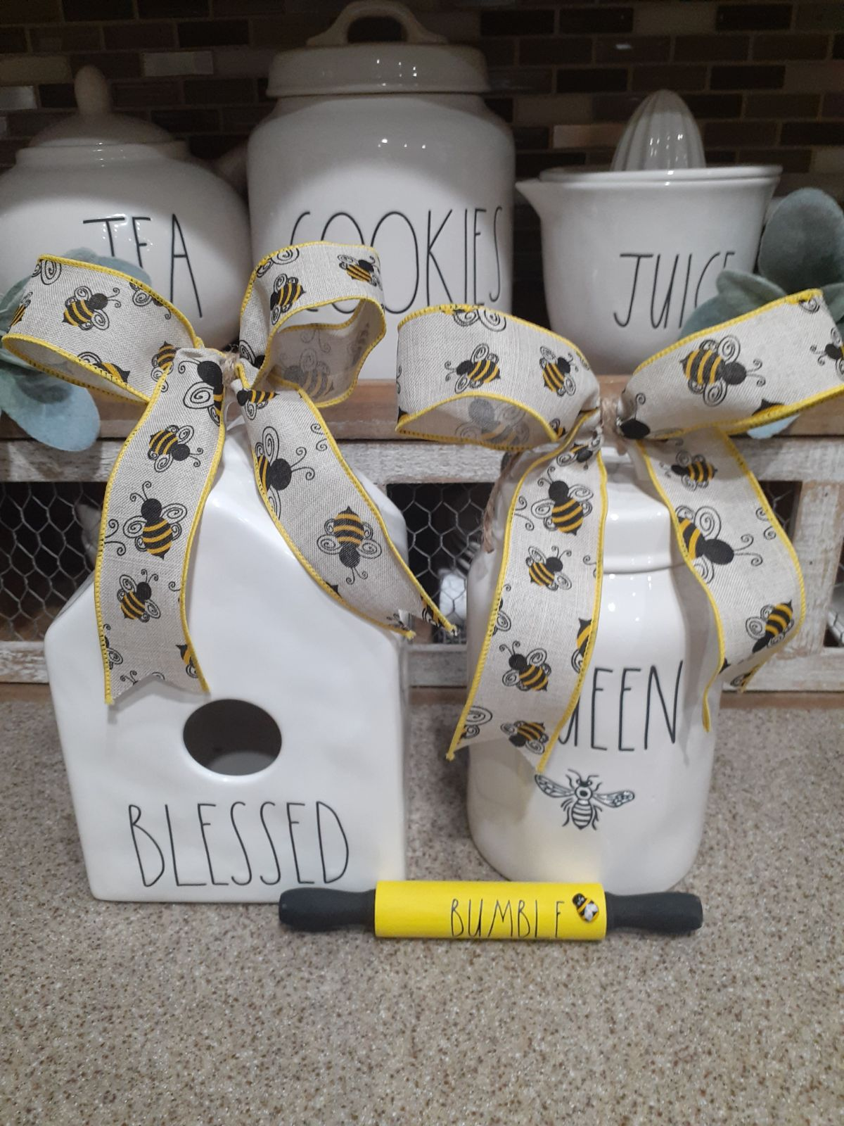 Bee bows for Rae Dunn canisters